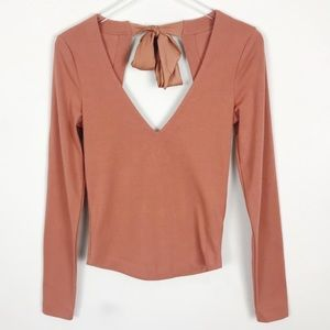 Free People Rust Deep V Open Cutout Back Top Bow